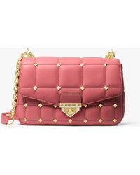 Michael Kors Soho Large Studded Quilted Leather Shoulder Bag - Pink