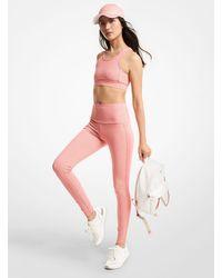 Michael Kors Leggings in nylon stretch con logo - Rosa