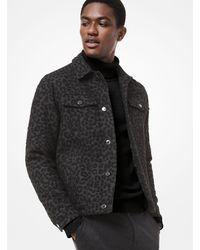 Michael Kors Leopard Wool Trucker Jacket - Gray