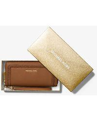 Michael Kors Mk Lexington Large Pebbled Leather Continental Wristlet - Brown