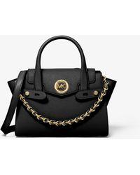 Michael Kors Bolso satchel Carmen pequeño de piel saffiano con patchwork y tiras decorativas - Negro