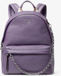 Michael Kors Slater Medium Pebbled Leather Backpack - Purple