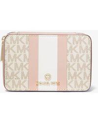 Michael Kors Small Logo Stripe Jewellery Case - Pink