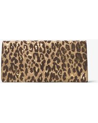 4cb245057ab2 Michael Kors - Christy Extra-large Leopard Intarsia Suede Clutch - Lyst