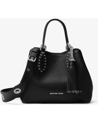 Michael Kors Brooklyn Small Leather Satchel - Black