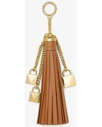 Michael Kors - Mercer Leather Tassel And Lock Key Chain - Lyst