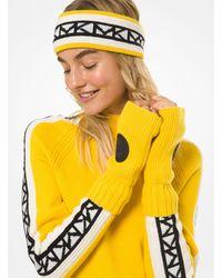 Michael Kors Logo Patch Ribbed Nylon-blend Fingerless Gloves - Yellow