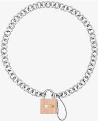 Michael Kors - Tri-tone Chain-link Padlock Pendant Necklace - Lyst