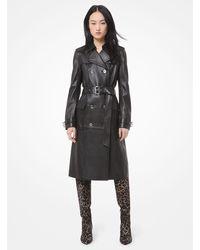 Michael Kors Leather Trench Coat - Black