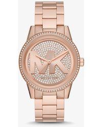 Michael Kors Oversized Ritz Pavé Logo Rose Gold-tone Watch - Metallic