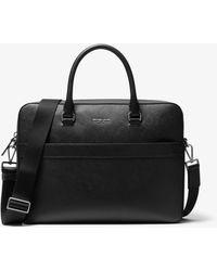 Michael Kors Harrison Saffiano Leather Front-zip Briefcase - Black