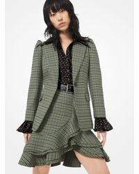 Michael Kors Plaid Stretch-wool Blazer - Green