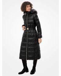 Michael Kors Faux Fur-trim Quilted Nylon Puffer Coat - Black