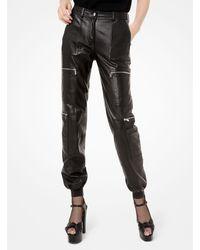 Michael Kors Plongé Leather Cargo Sweatpants - Black