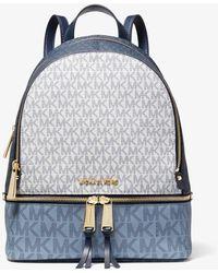 Michael Kors Rhea Medium Color-block Logo Backpack - Blue