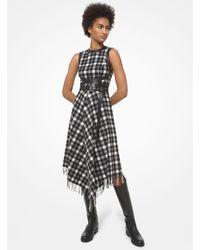 Michael Kors Leather Trim Plaid Wool Dress - Grey
