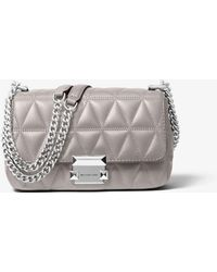 Michael Kors Sloan Small Quilted Leather Crossbody Bag - Gray