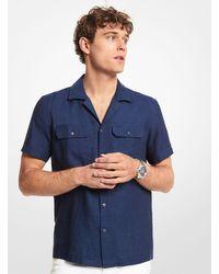 Michael Kors Camisa slim-fit de manga corta de lino - Azul