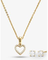 Michael Kors Precious Metal-plated Sterling Silver Pavé Heart Necklace And Stud Earrings Set - Metallic