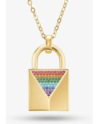 Michael Kors - 14k Gold-plated Sterling Silver Pave Large Lock Necklace - Lyst