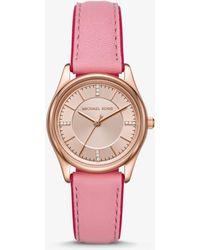 Michael Kors - Reloj Colette en tono dorado rosa de piel - Lyst