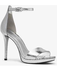 Michael Kors Hutton Crackled Metallic Leather Sandal