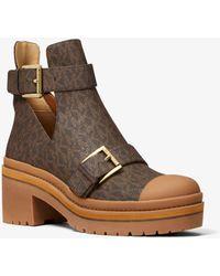 Michael Kors Corey Logo Cutout Ankle Boot - Brown