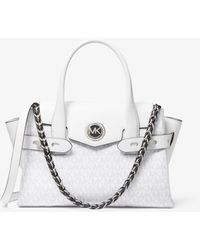 MICHAEL Michael Kors Carmen Small Logo And Leather Belted Satchel - White