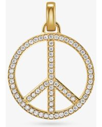 Michael Kors - 14k Gold-plated Sterling Silver Pave Oversized Peace Charm - Lyst