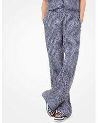 Michael Kors Pantalón de pijama de sarga de seda con estampado - Azul