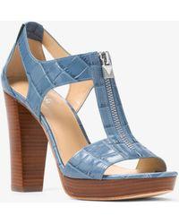 Michael Kors - Berkley Lock Crocodile-embossed Leather Platform Sandal - Lyst