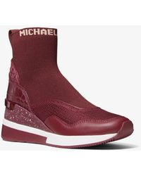 Michael Kors Swift Stretch Knit And Crocodile Embossed Leather Sock Sneaker - Multicolour