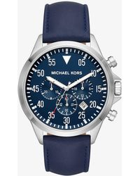 Michael Kors - Men's Gage Stainless-steel And Navy Leather Watch - Lyst