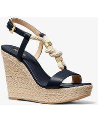Michael Kors Holly Leather Wedge Sandal - Multicolour