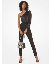 Michael Kors Sequined One-shoulder Jumpsuit - Black