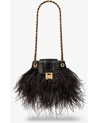 Michael Kors Bancroft Feather And Snakeskin Disco Pouch - Black