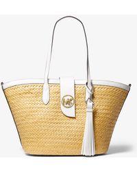 Michael Kors Malibu Large Straw Tote Bag - White