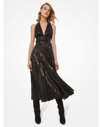 Michael Kors Leather Trim Sequined Tulle Halter Dress - Black
