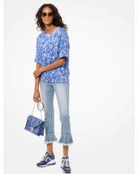 Michael Kors Peace-print Cotton-terry Short-sleeve Sweatshirt - Blue