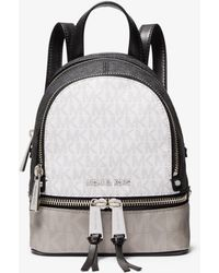 Michael Kors Rhea Mini Color-block Logo Backpack - White