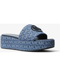 Michael Kors Sadler Logo Jacquard Wedge Sandal - Blue