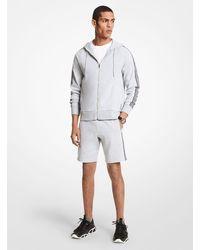 Michael Kors Felpa in misto cotone con fettuccia logo cappuccio e zip - Grigio