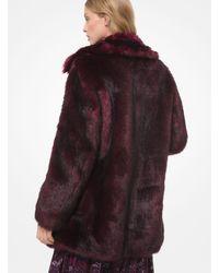 Michael Kors Faux Fur Coat - Red