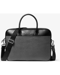 Michael Kors Henry Printed Coated Canvas Briefcase - Gray