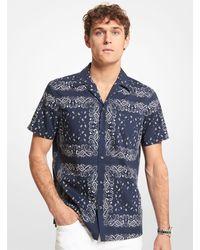 Michael Kors Camisa de manga corta slim-fit de mezcla de algodón con estampado tipo bandana - Azul