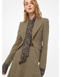 Michael Kors Embellished Guncheck Wool Cutaway Riding Jacket - Multicolour