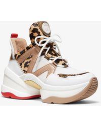 Michael Kors Basket Olympia en cuir et poil de vachette à imprimé léopard - Blanc