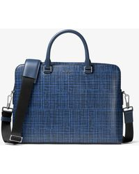Michael Kors - Harrison Crosshatch Leather Briefcase - Lyst