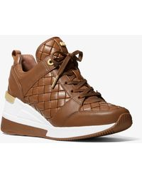 Michael Kors Georgie Woven Leather Trainer - Brown