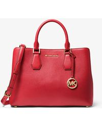 Michael Kors Camille Large Pebbled Leather Satchel - Red